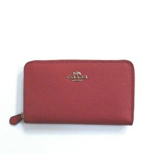 Coach Crossgrain Leather Medium Zip Wallet Poppy